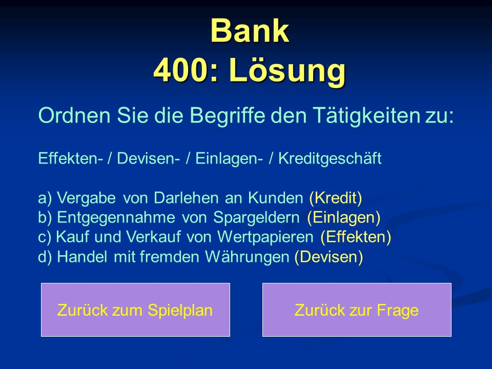 Bank 400: Lösung