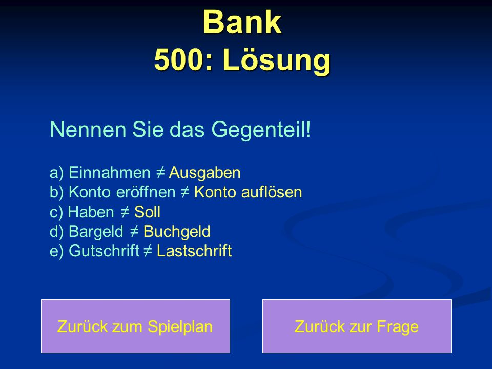 Bank 500: Lösung