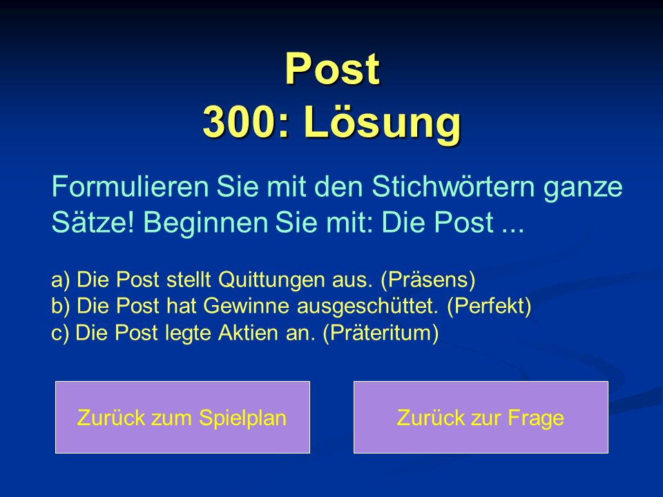 Post 300: Lösung