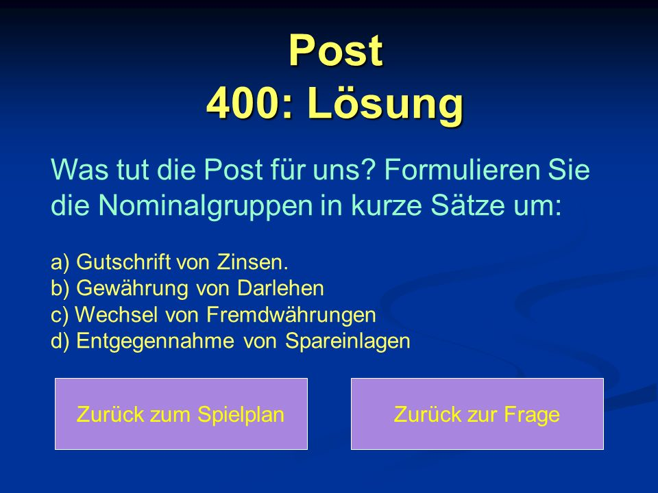 Post 400: Lösung