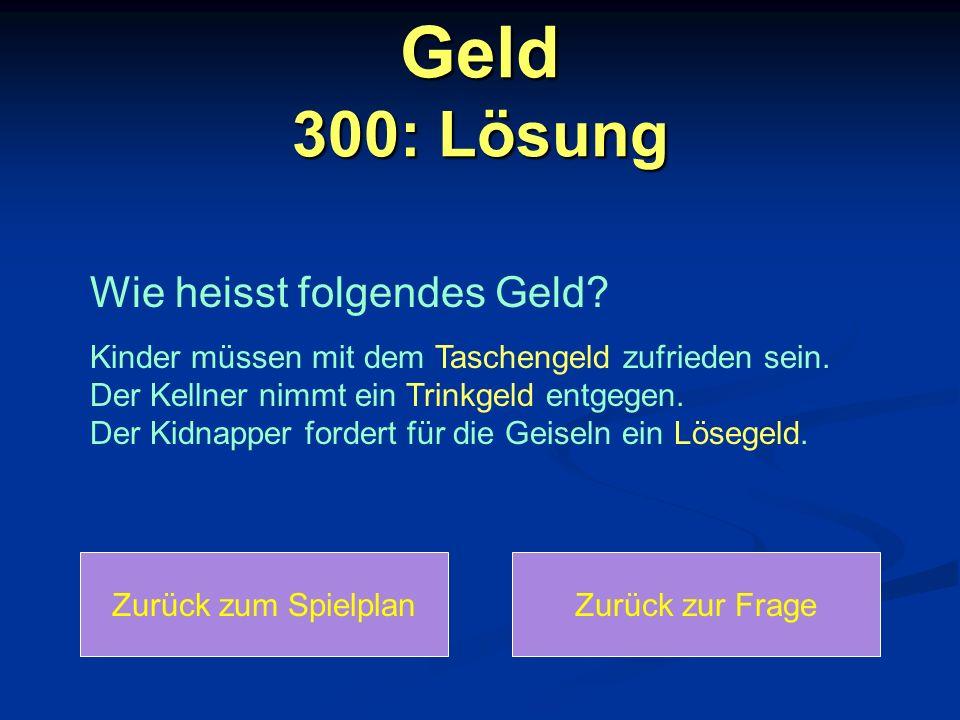 Geld 300: Lösung Wie heisst folgendes Geld