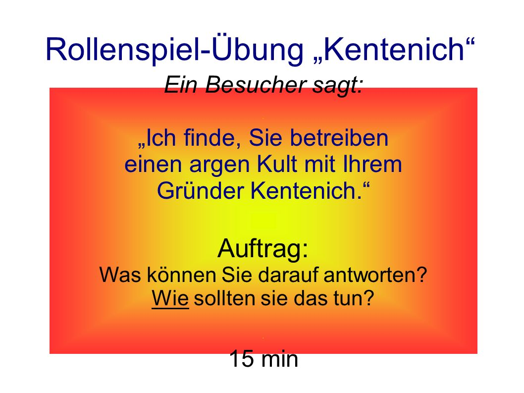 "Rollenspiel-Übung ""Kentenich"