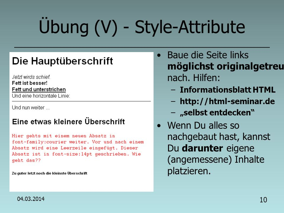 Übung (V) - Style-Attribute