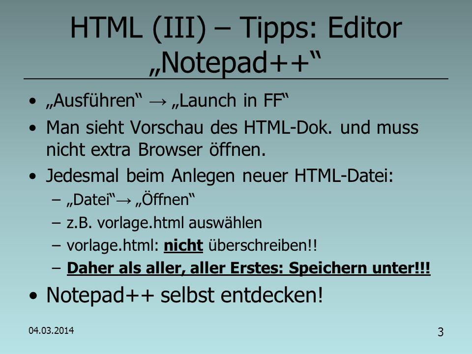 """HTML (III) – Tipps: Editor """"Notepad++"""