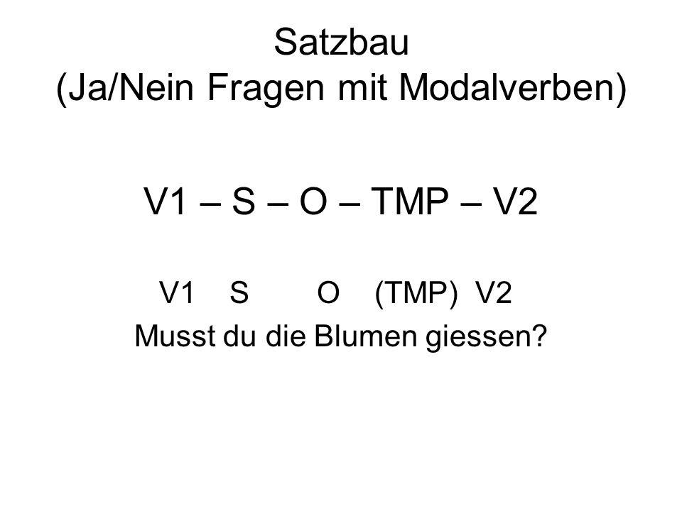 Satzbau (Ja/Nein Fragen mit Modalverben)