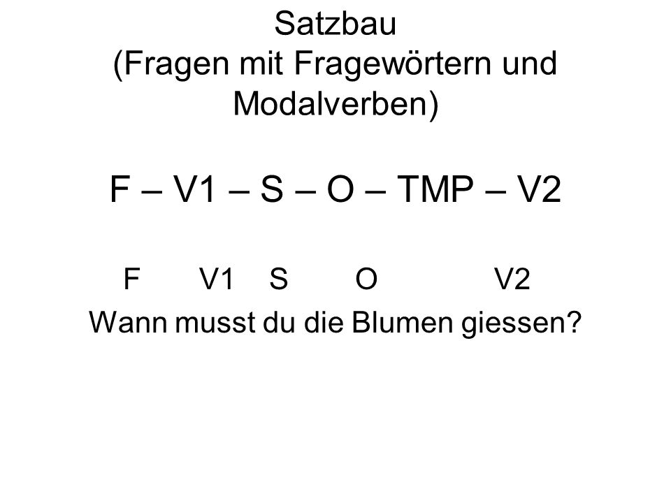 Satzbau (Fragen mit Fragewörtern und Modalverben)