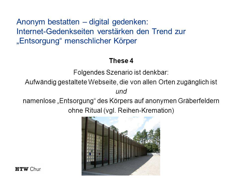 """Anonym bestatten – digital gedenken: Internet-Gedenkseiten verstärken den Trend zur """"Entsorgung menschlicher Körper"""