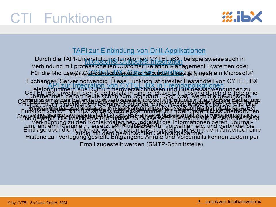 CTI Funktionen TAPI zur Einbindung von Dritt-Applikationen