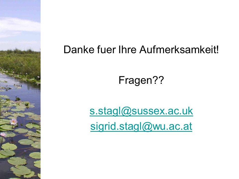Danke fuer Ihre Aufmerksamkeit. Fragen. s. stagl@sussex. ac. uk sigrid