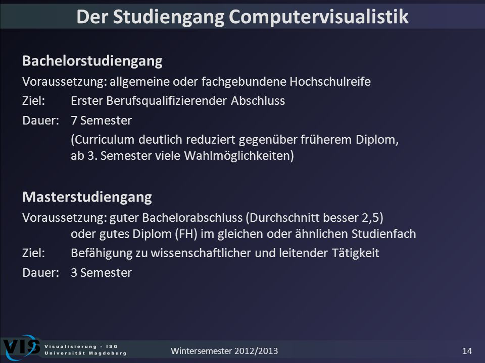 Der Studiengang Computervisualistik