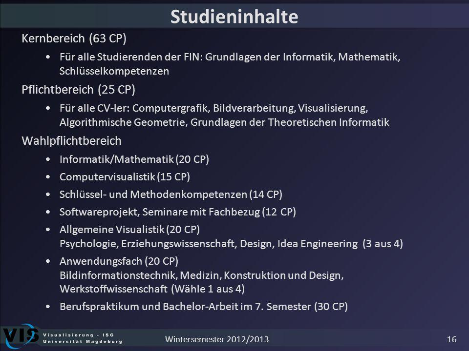 Studieninhalte Kernbereich (63 CP) Pflichtbereich (25 CP)