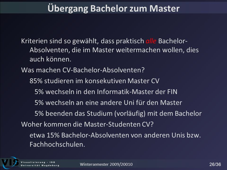 Übergang Bachelor zum Master