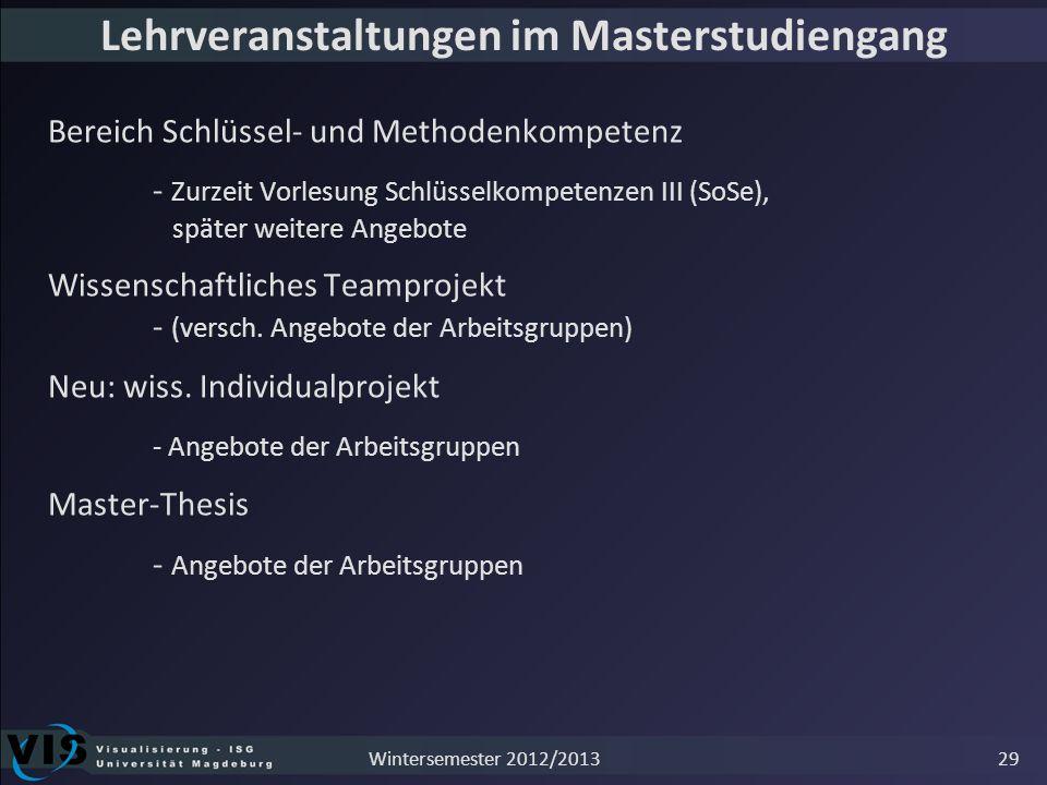 Lehrveranstaltungen im Masterstudiengang