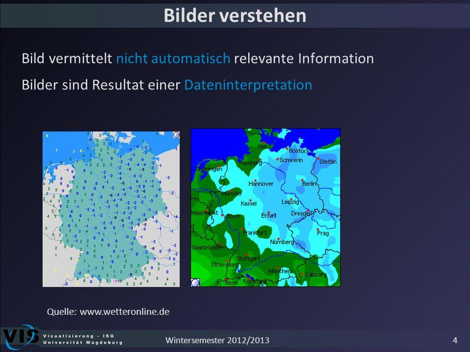 Bilder verstehen Bild vermittelt nicht automatisch relevante Information. Bilder sind Resultat einer Dateninterpretation.