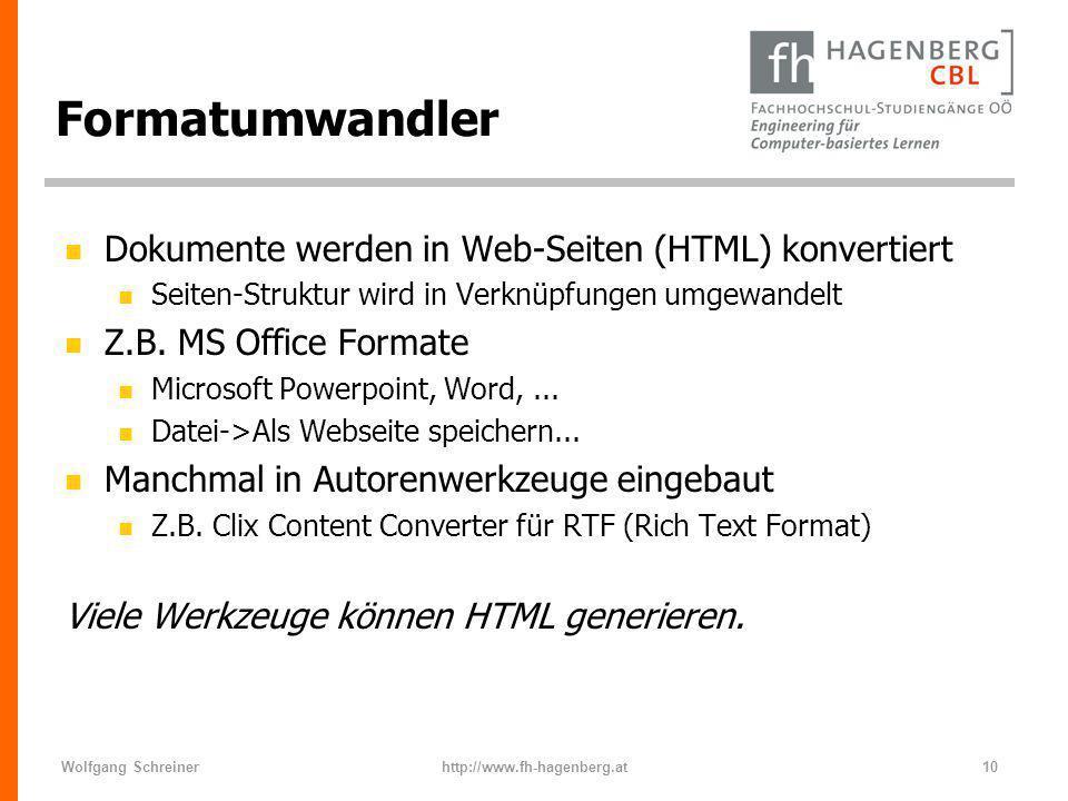Formatumwandler Dokumente werden in Web-Seiten (HTML) konvertiert