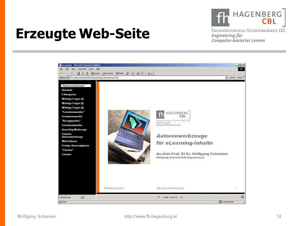 Erzeugte Web-Seite Wolfgang Schreiner http://www.fh-hagenberg.at