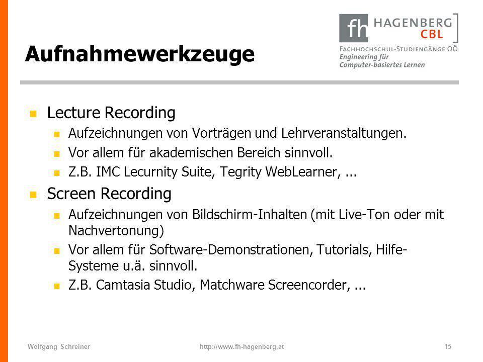 Aufnahmewerkzeuge Lecture Recording Screen Recording