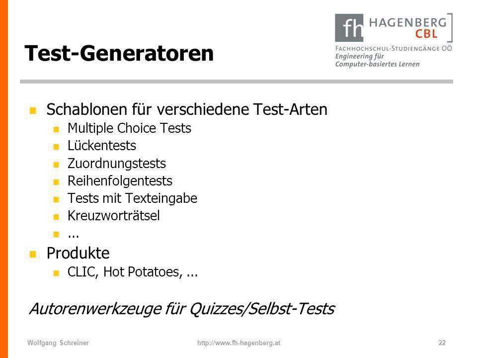 Test-Generatoren Schablonen für verschiedene Test-Arten Produkte