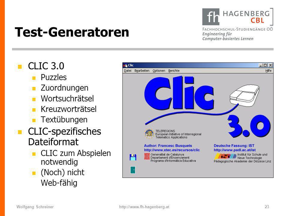 Test-Generatoren CLIC 3.0 CLIC-spezifisches Dateiformat Puzzles
