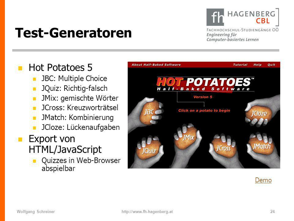 Test-Generatoren Hot Potatoes 5 Export von HTML/JavaScript