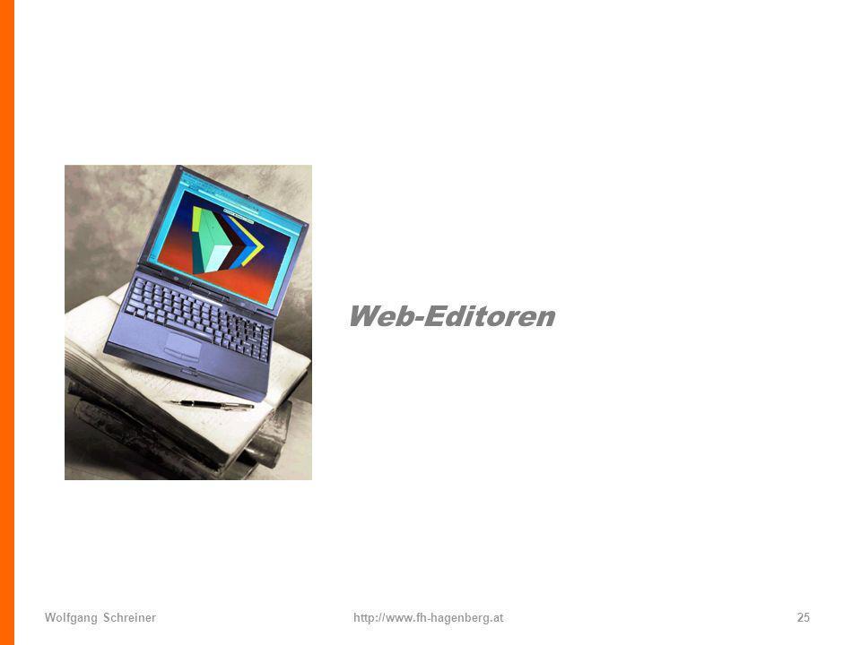 Web-Editoren Wolfgang Schreiner http://www.fh-hagenberg.at