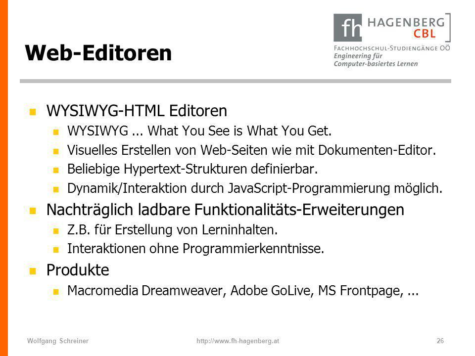 Web-Editoren WYSIWYG-HTML Editoren
