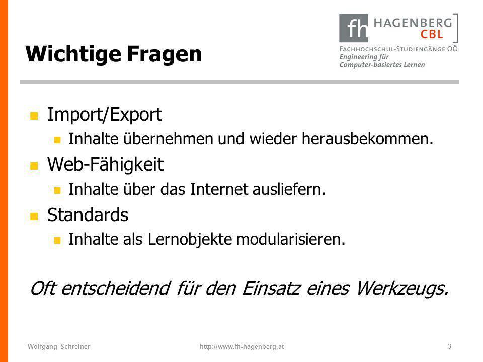 Wichtige Fragen Import/Export Web-Fähigkeit Standards