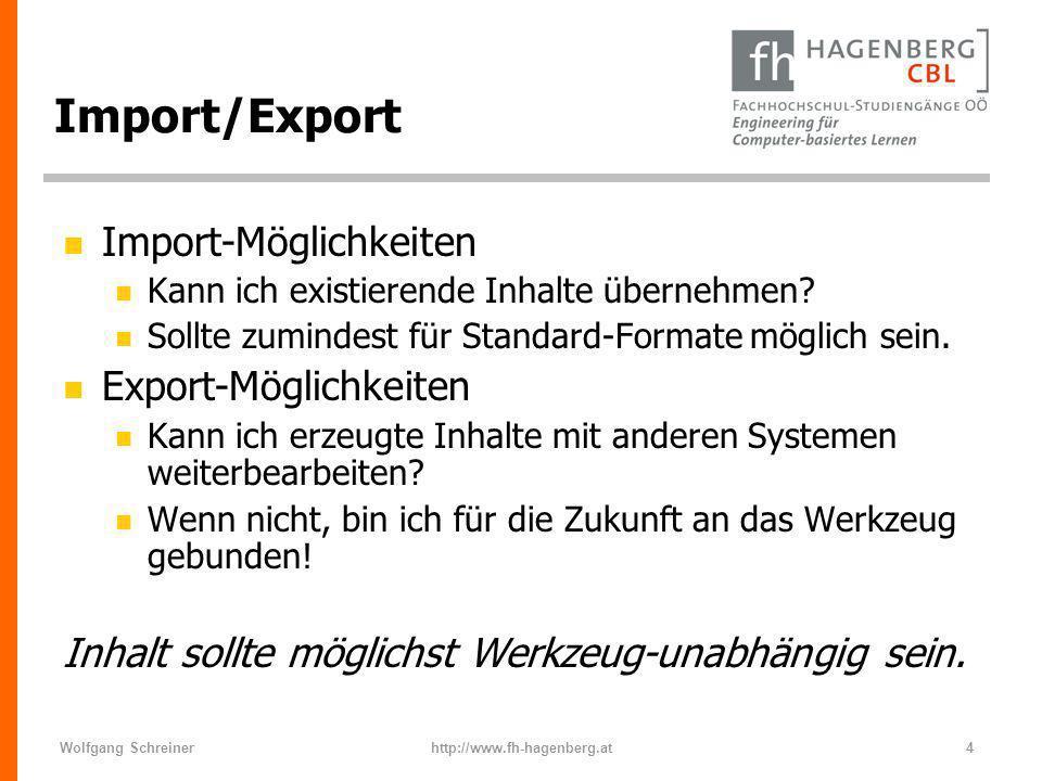 Import/Export Import-Möglichkeiten Export-Möglichkeiten