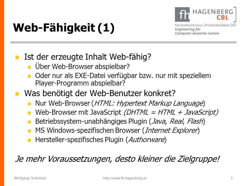 Web-Fähigkeit (1) Ist der erzeugte Inhalt Web-fähig