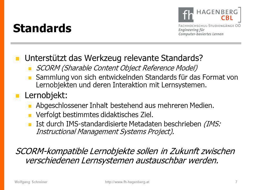 Standards Unterstützt das Werkzeug relevante Standards Lernobjekt: