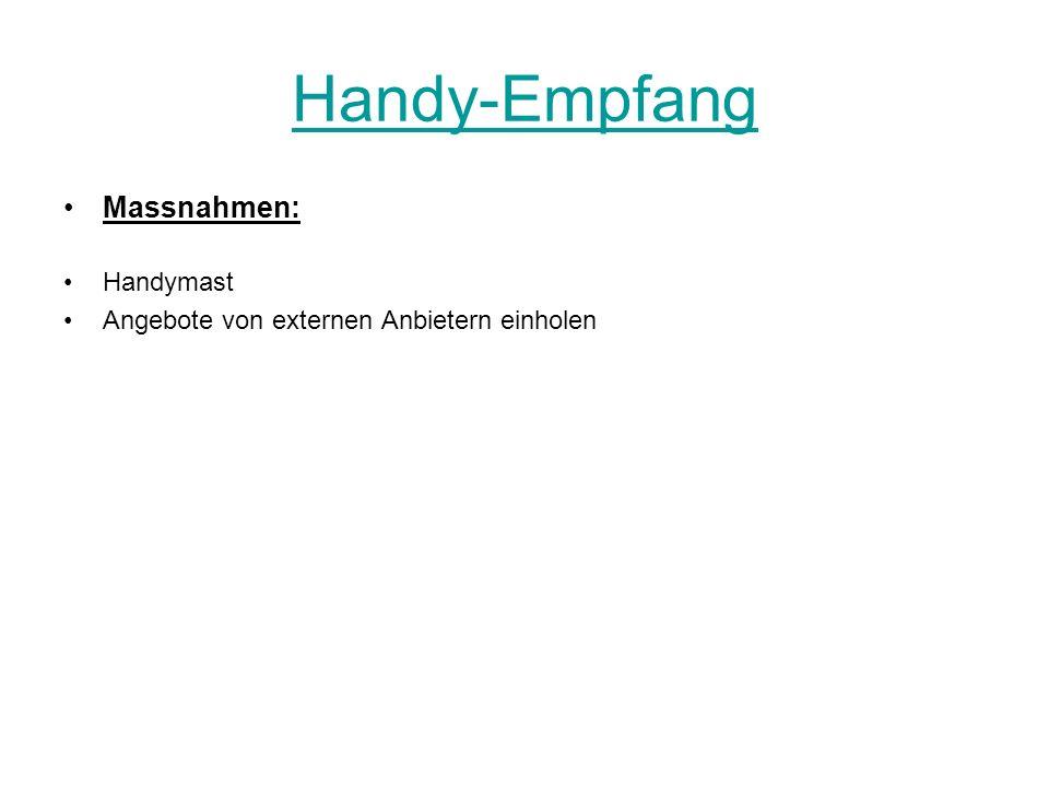 Handy-Empfang Massnahmen: Handymast