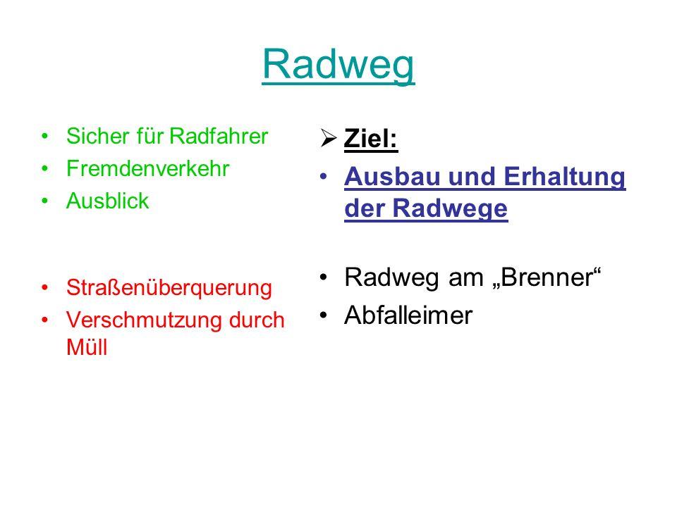 """Radweg Ziel: Ausbau und Erhaltung der Radwege Radweg am """"Brenner"""