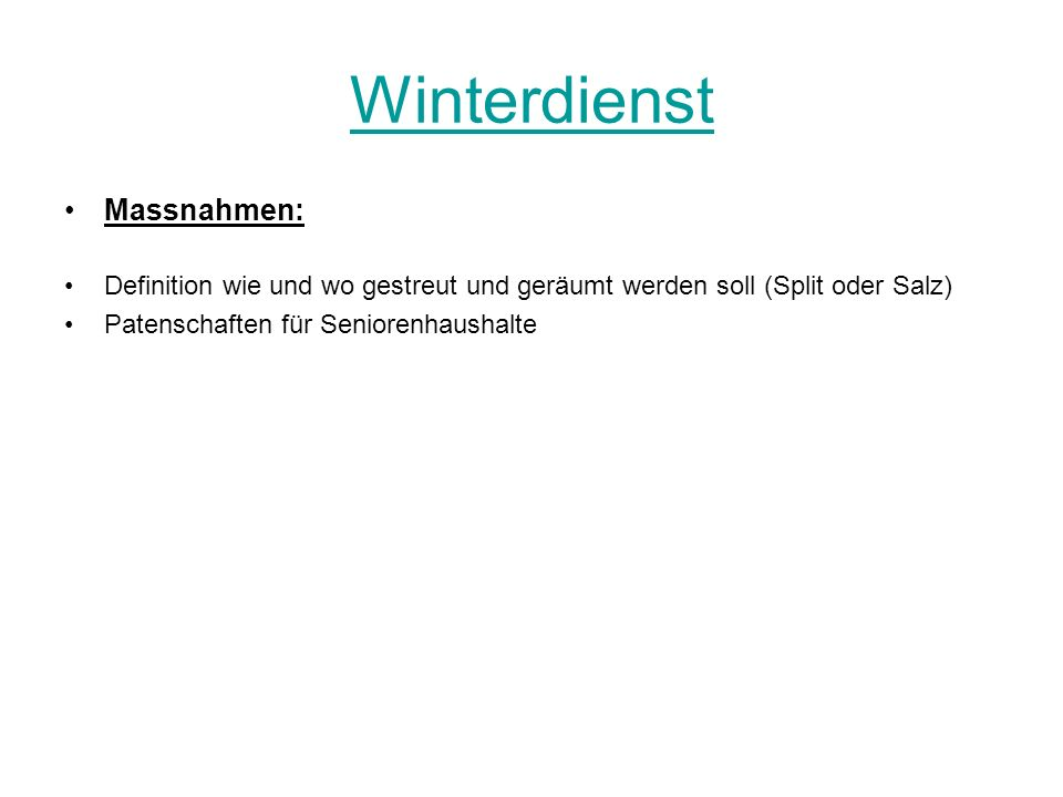 Winterdienst Massnahmen: