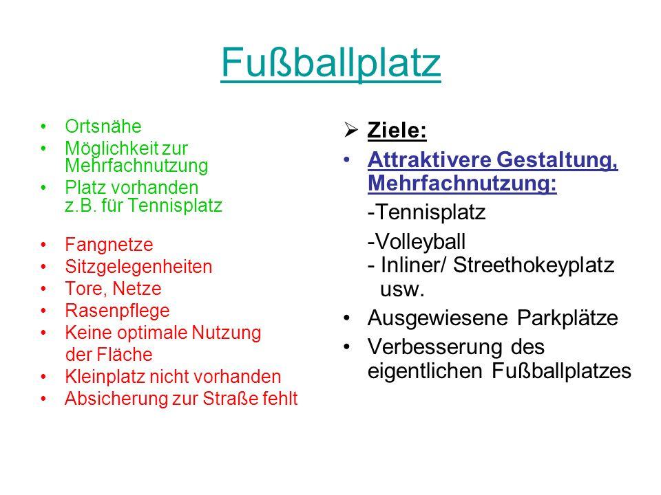Fußballplatz Ziele: Attraktivere Gestaltung, Mehrfachnutzung:
