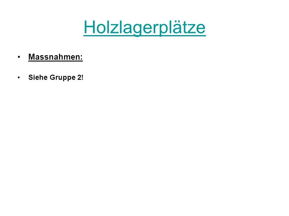 Holzlagerplätze Massnahmen: Siehe Gruppe 2!