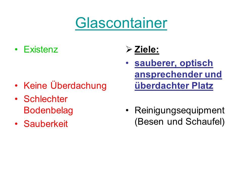 Glascontainer Existenz Keine Überdachung Schlechter Bodenbelag