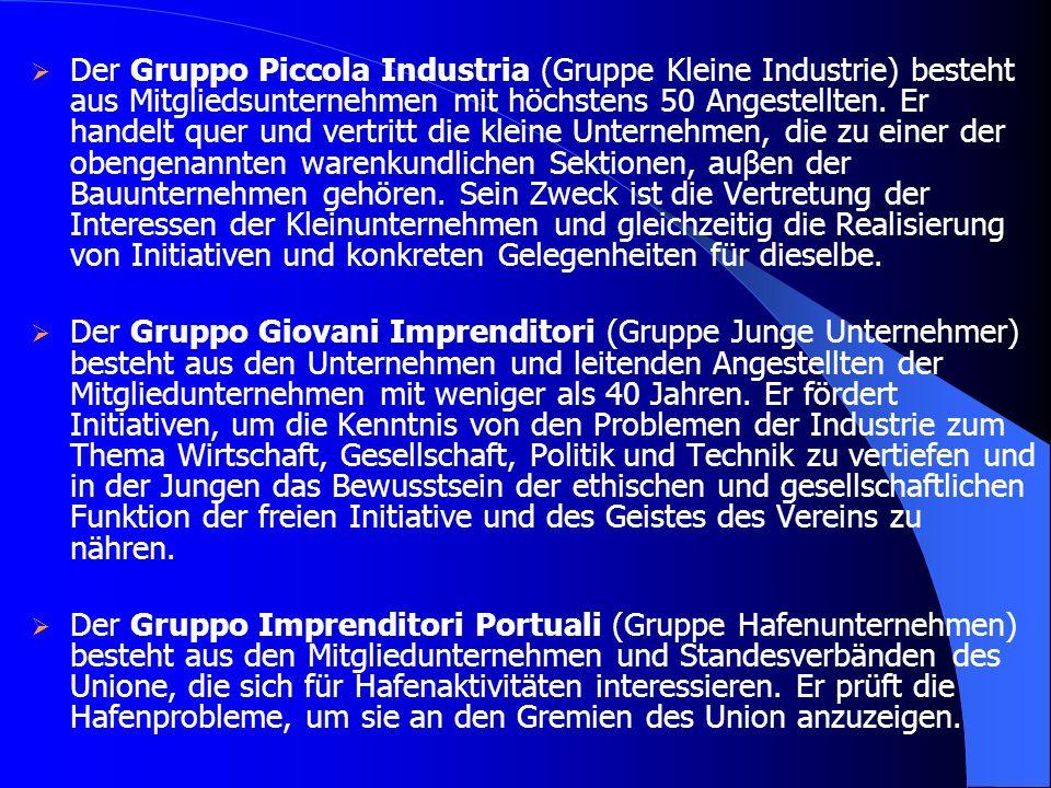 Der Gruppo Piccola Industria (Gruppe Kleine Industrie) besteht aus Mitgliedsunternehmen mit höchstens 50 Angestellten. Er handelt quer und vertritt die kleine Unternehmen, die zu einer der obengenannten warenkundlichen Sektionen, auβen der Bauunternehmen gehören. Sein Zweck ist die Vertretung der Interessen der Kleinunternehmen und gleichzeitig die Realisierung von Initiativen und konkreten Gelegenheiten für dieselbe.