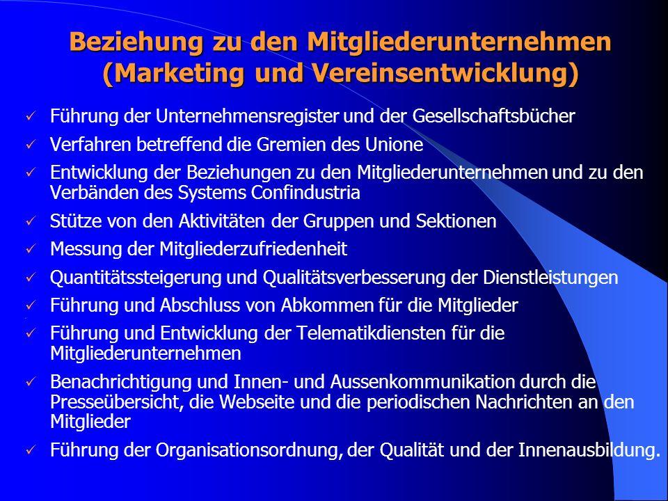 Beziehung zu den Mitgliederunternehmen (Marketing und Vereinsentwicklung)