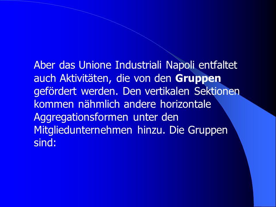 Aber das Unione Industriali Napoli entfaltet auch Aktivitäten, die von den Gruppen gefördert werden.