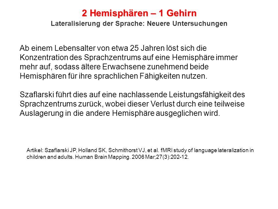 2 Hemisphären – 1 Gehirn Lateralisierung der Sprache: Neuere Untersuchungen.