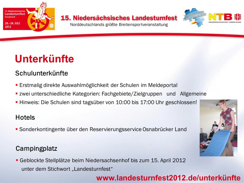Unterkünfte www.landesturnfest2012.de/unterkünfte Schulunterkünfte