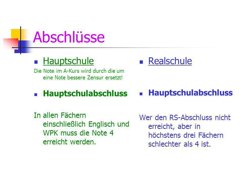 Abschlüsse Hauptschule Realschule Hauptschulabschluss