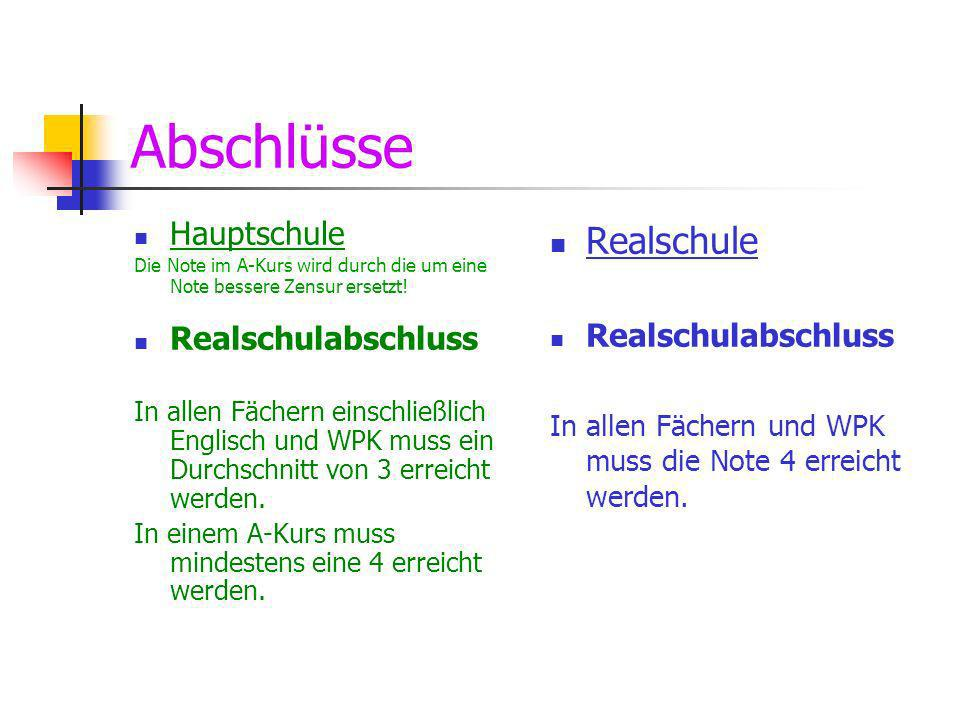 Abschlüsse Realschule Hauptschule Realschulabschluss