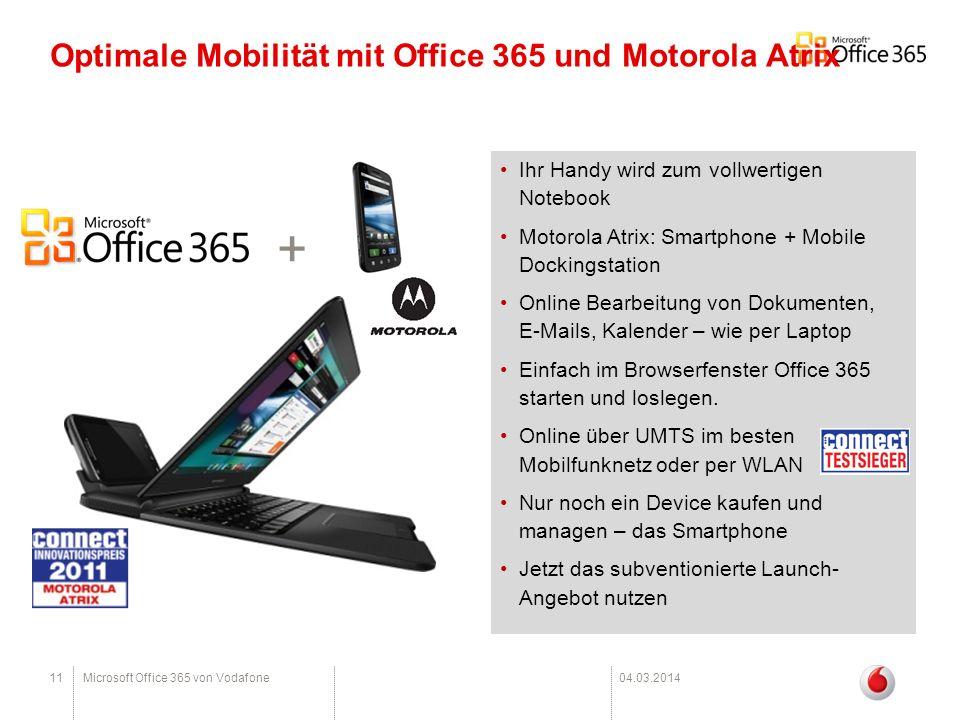 Optimale Mobilität mit Office 365 und Motorola Atrix