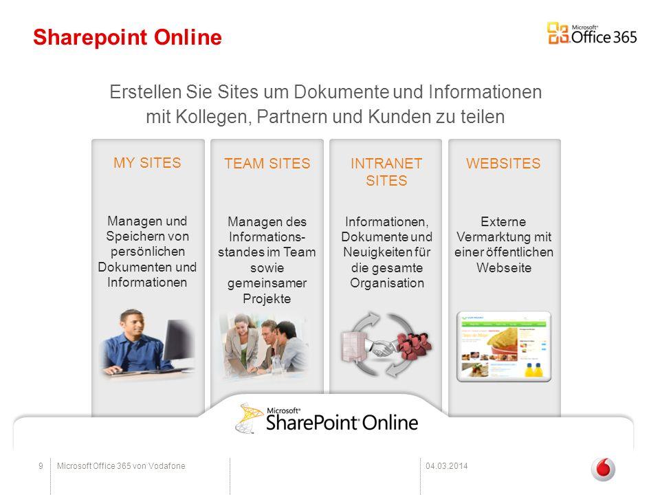 Sharepoint Online Erstellen Sie Sites um Dokumente und Informationen mit Kollegen, Partnern und Kunden zu teilen.
