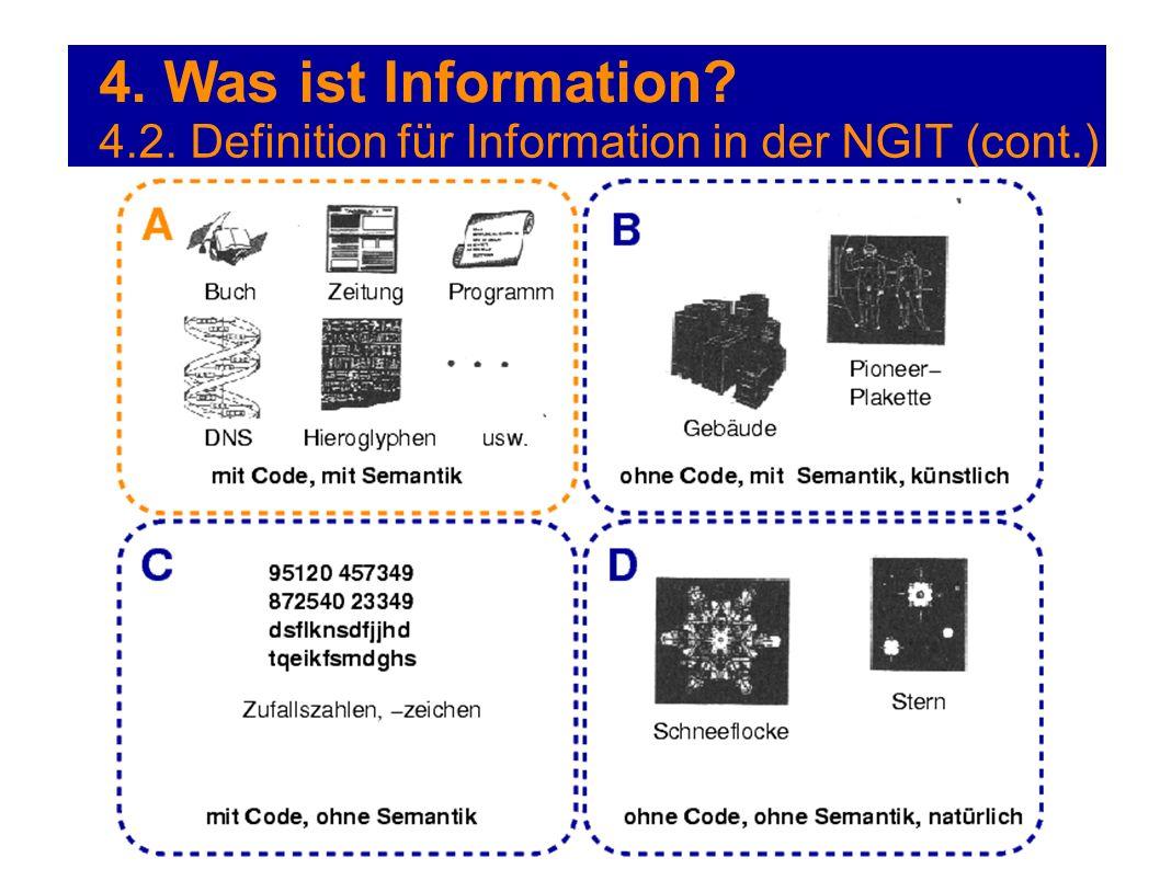 4. Was ist Information 4.2. Definition für Information in der NGIT (cont.)