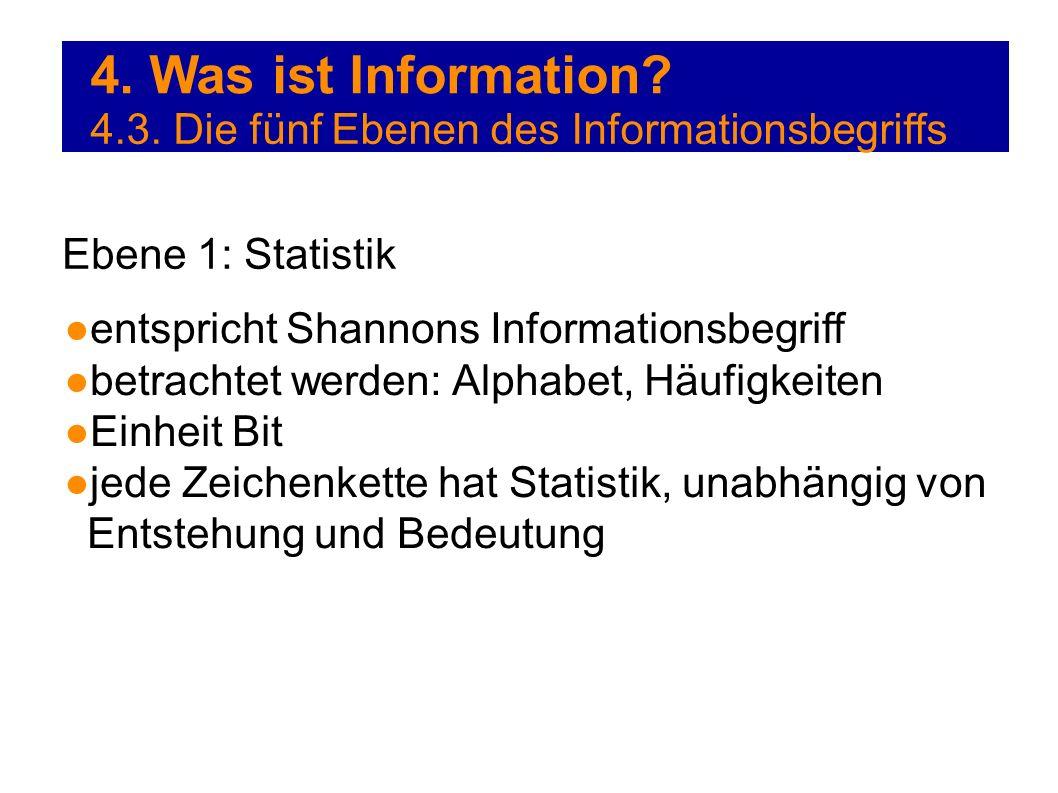4. Was ist Information 4.3. Die fünf Ebenen des Informationsbegriffs