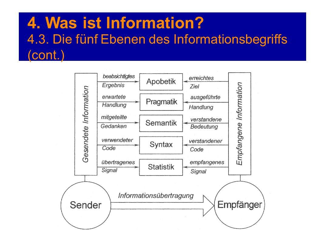 4. Was ist Information 4.3. Die fünf Ebenen des Informationsbegriffs (cont.)