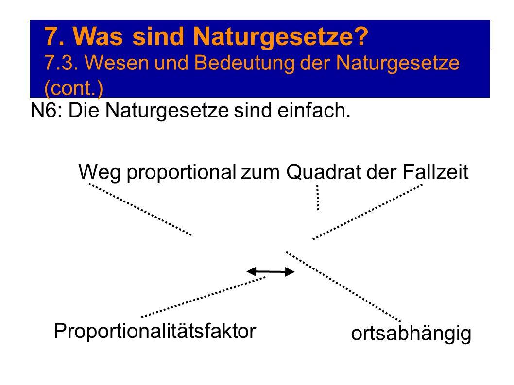 7. Was sind Naturgesetze 7.3. Wesen und Bedeutung der Naturgesetze (cont.) N6: Die Naturgesetze sind einfach.