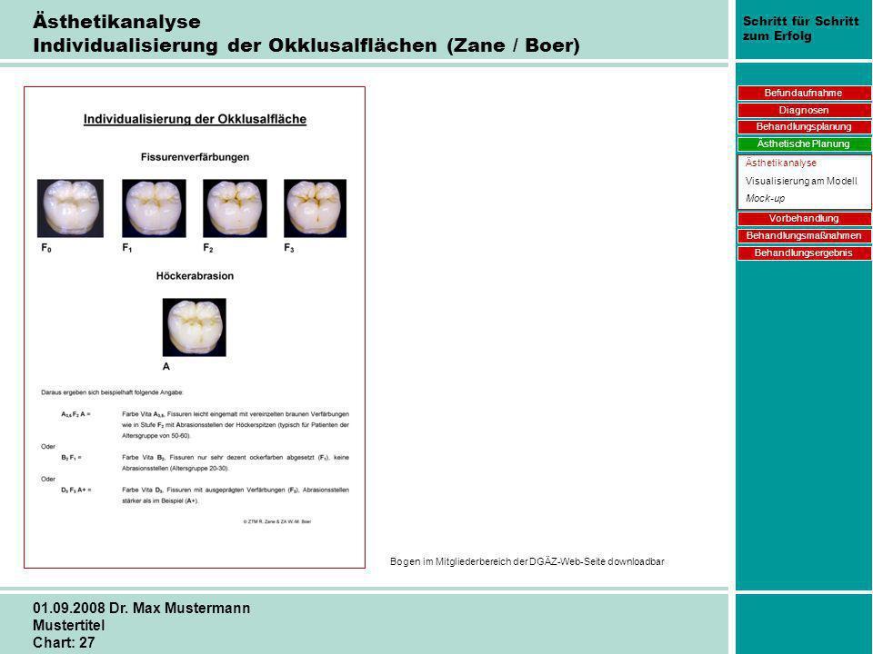 Ästhetikanalyse Individualisierung der Okklusalflächen (Zane / Boer)